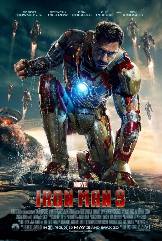 マーベル映画『アイアンマン3』の登場人物とポスター画像