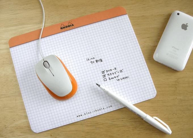 ロディア/マウスパッド型メモ帳(5mm方眼)