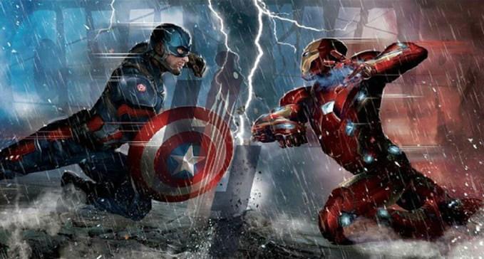 マーベル映画シビルウォー、キャプテンアメリカとアイアンマン、スパイダーマンが登場