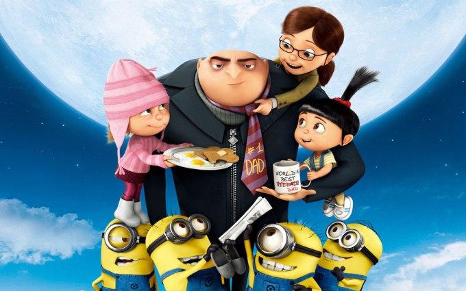 映画ミニオンズシリーズの主人公怪盗グルーと子供たち3人とミニオンズの画像