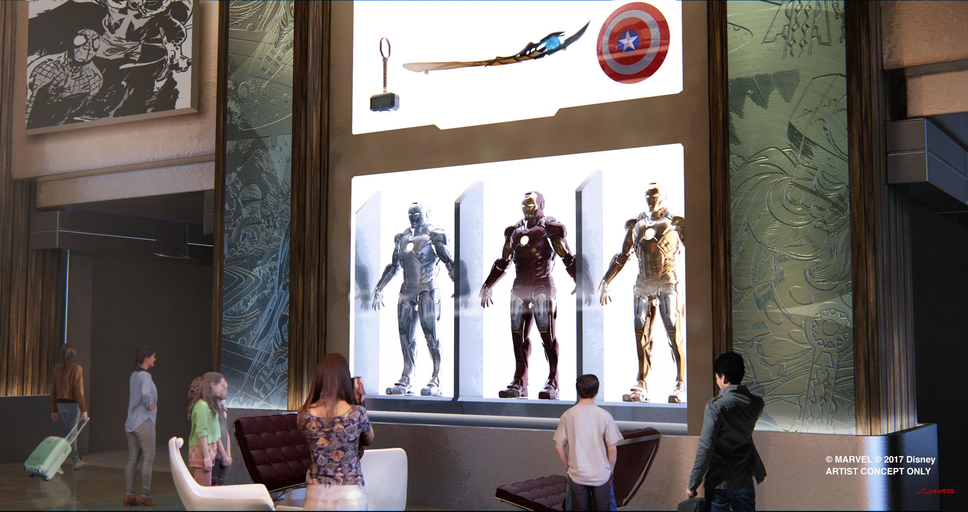 Lobby van Hotel New York na de ombouw waarbij Marvel attributen worden toegevoegd aan het hotel