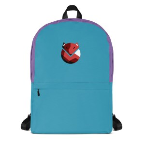 Front side Fox Turquoise Purple Backpack