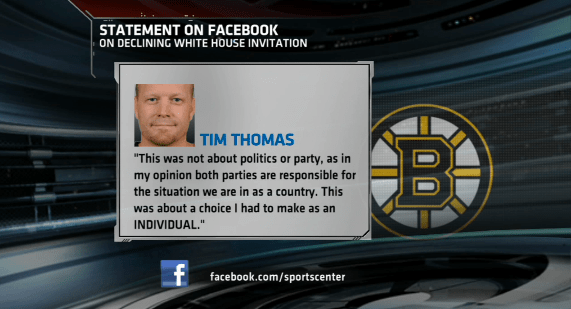 Tim Thomas put himself above team Bruins goalie picked inappropriate time, venue to make personal statement