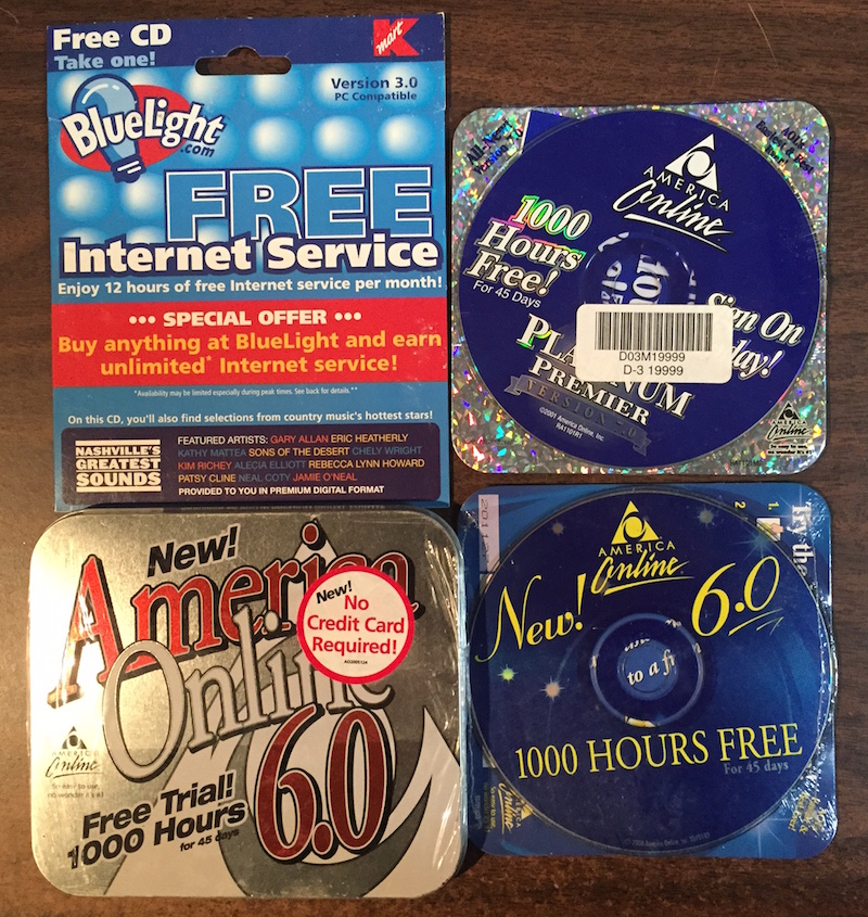 AOL discs and one from bluelight.com - when K Mart tried to get into the ISP business.