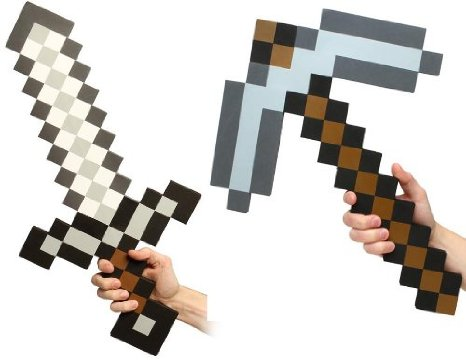minecraft-sword-and-pickaxe