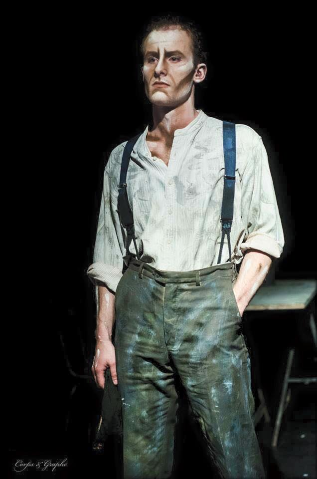 Guillaume Sorel comédien dramatique dans le Crime de Camden Town de Hugo Le Guen maquillage peinture