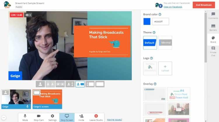 интерфейс бесплатного сервиса для видеострима Streamyard
