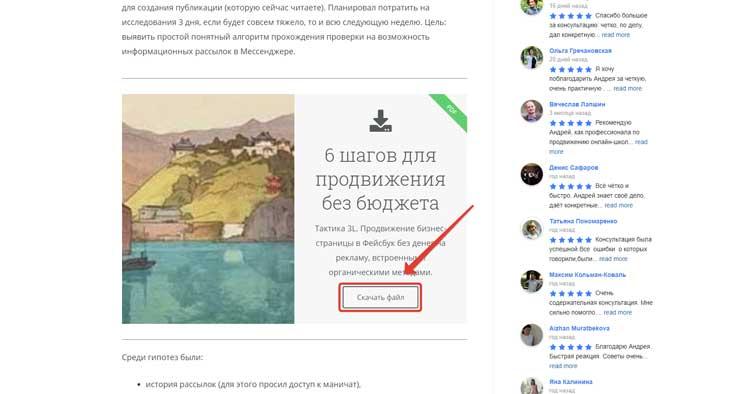 Пример рекламного виджета в блоге с раздачей лид-магнита