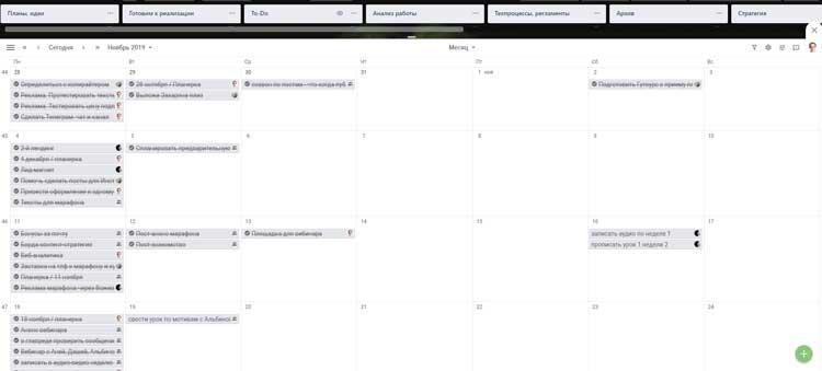 Пример календаря выполненных работ в Трелло
