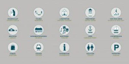 wayfinding og skilte design, arkitekt, designer, arkitektur, skiltedesign, ikoner, grafisk design, www.designtegnestue.dk flotte skilt, flot skiltedesign, spændende wayfinding, wayfinding i Nyborg, Nyborg Kommune