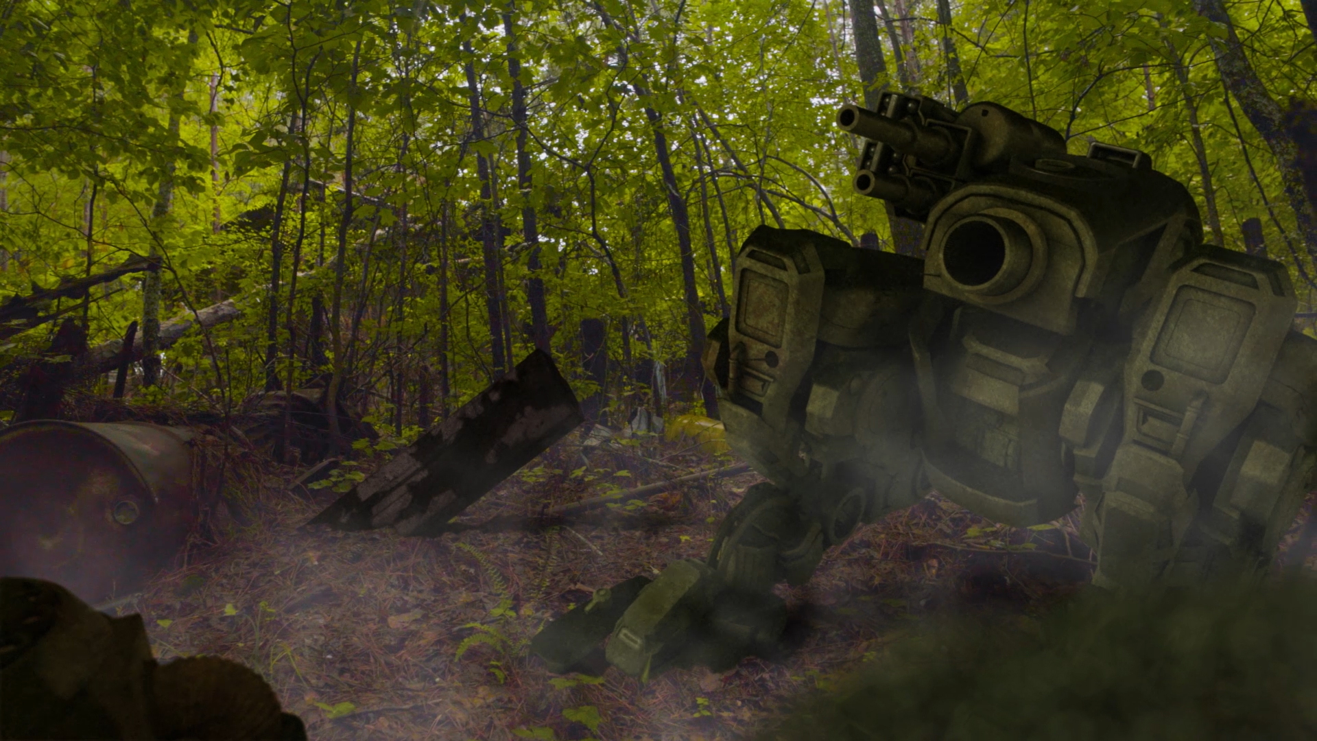 From the sci-fi short film Fringe Territory: Salvage Mission One. Broken down mechs and robots in the junkyard.