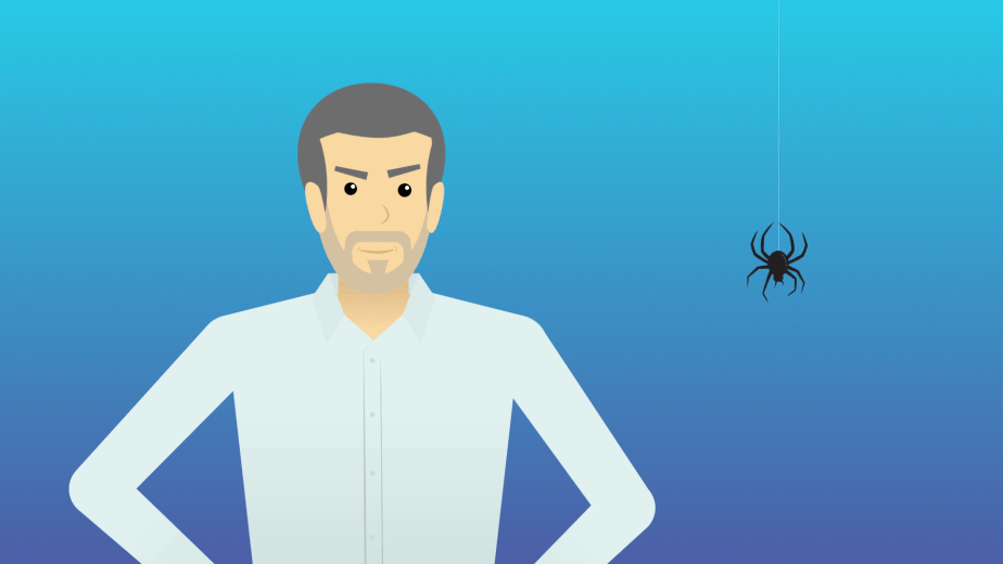 The CFO proves he is not afraid of spiders. From a video marketing campaign for IBM Cloud Brokerage Services that I art directed at Superlux.