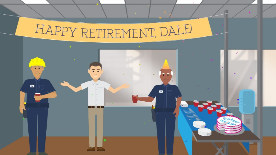 From an explainer video for IBM Cognitive Plant Advisor. Retirement Party.