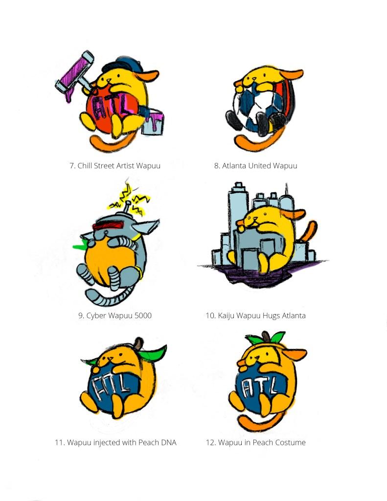 Original sketches for the Atlanta Wapuu (version 1b)