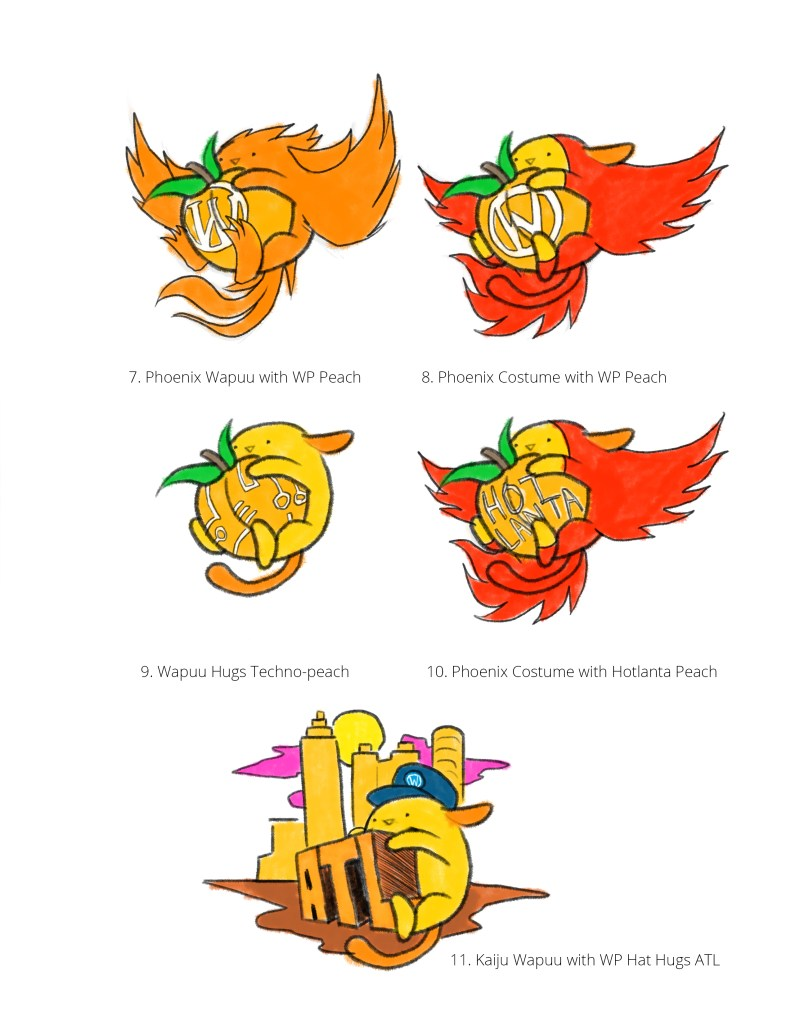 Original sketches for the Atlanta Wapuu (version 2b)