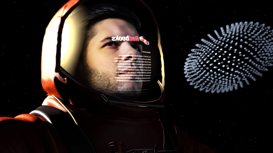 Visual effects composite of an astronaut reading a Redbook in the future.