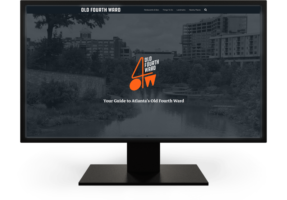 O4W Guide - A tourism guide website for Atlanta's Old Fourth Ward, shown on a desktop monitor.