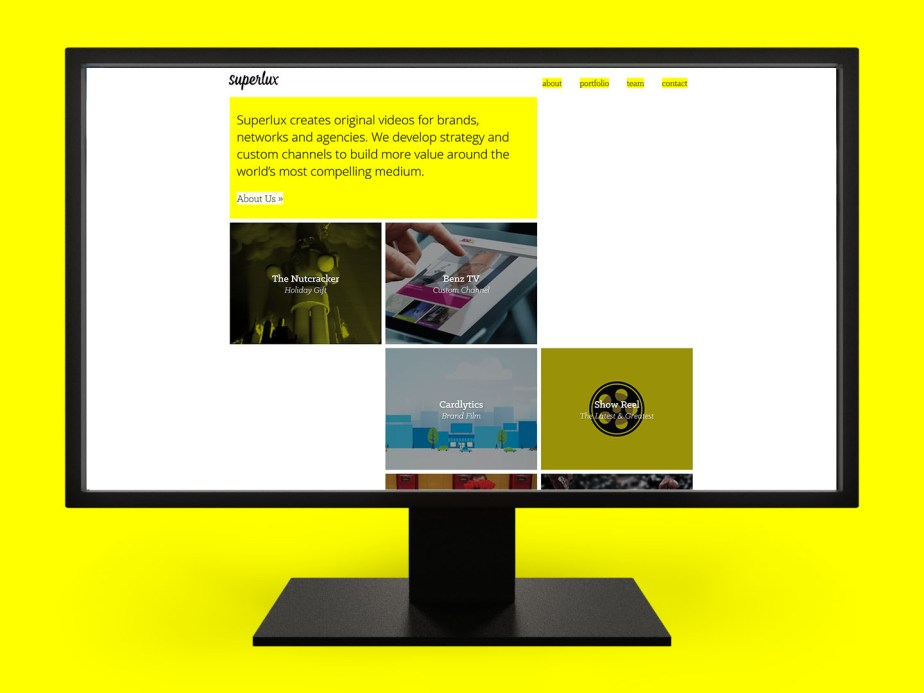 The Superlux agency portfolio website on a desktop monitor. (Web Development)