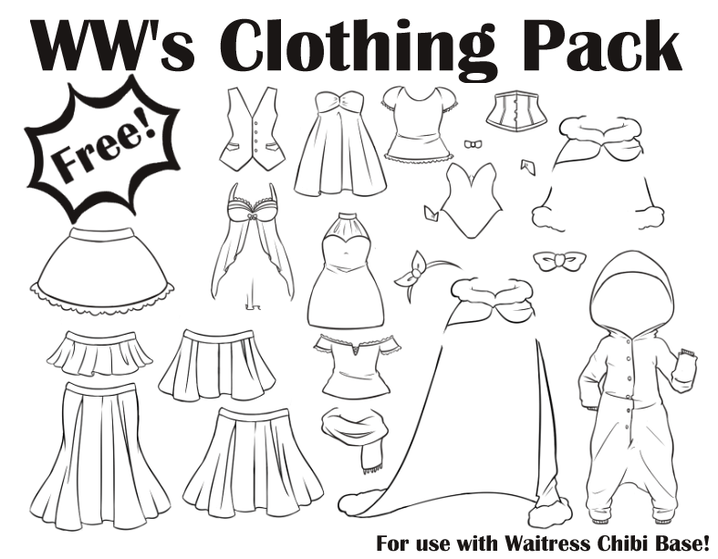 WW's Clothing Pack for Waitress Chibi Base by WeeverWolf