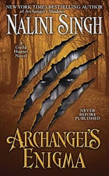 Book cover Archangel's Enigma by Nalini Singh a forest scene slashed with eyes peering through