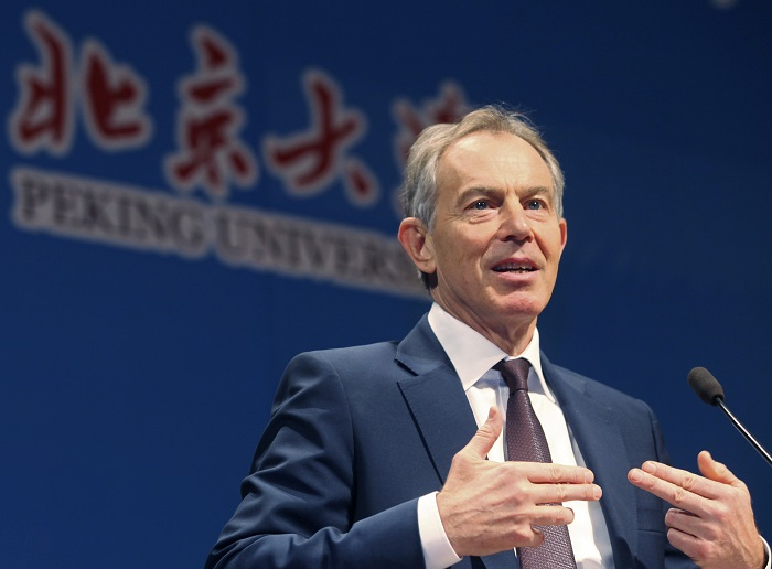 Tony Blair gives a speech at Peking University in Beijing, China.