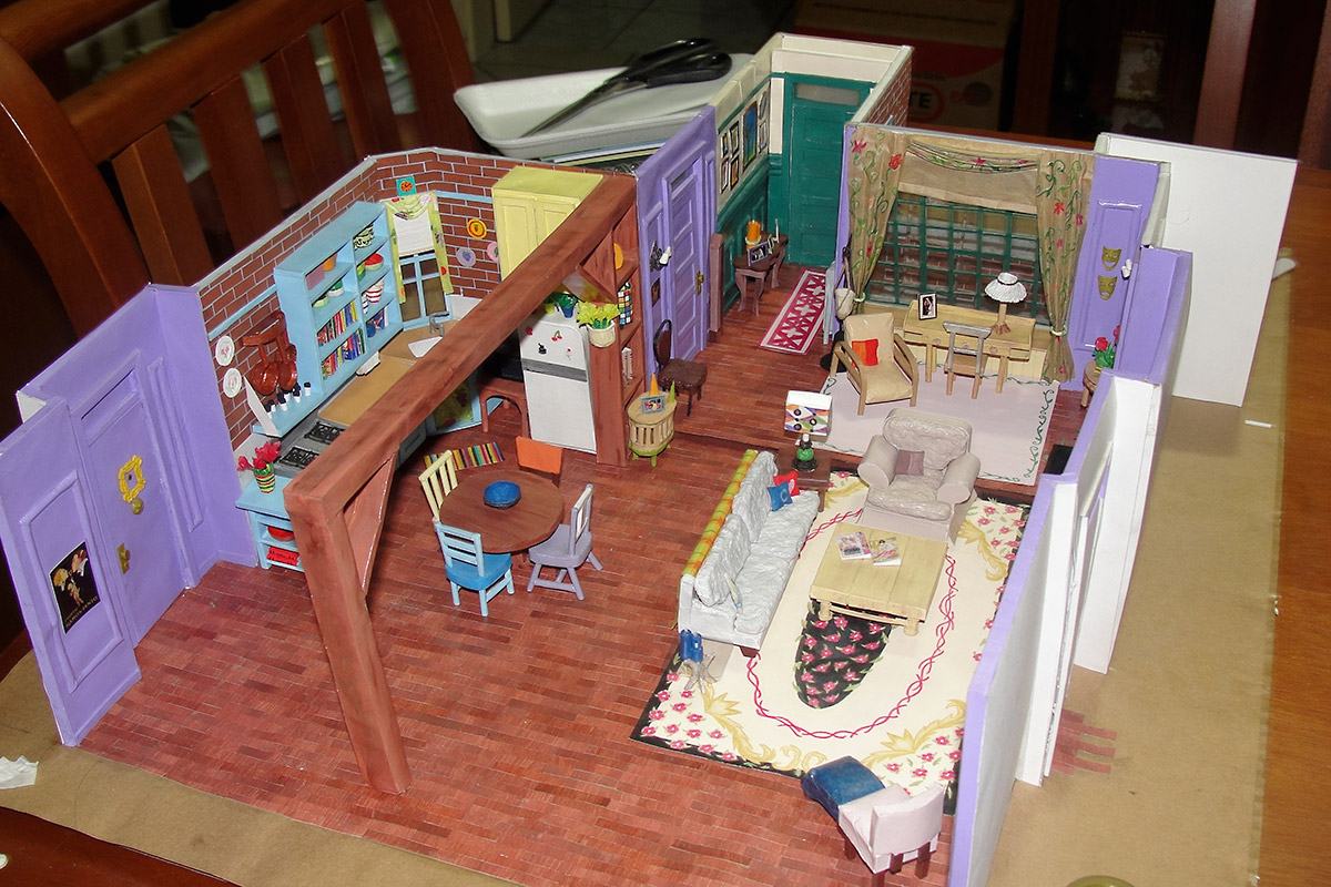 Amazing Miniature Model of Monicas Apartment in the TV series Friends  Made of Paper