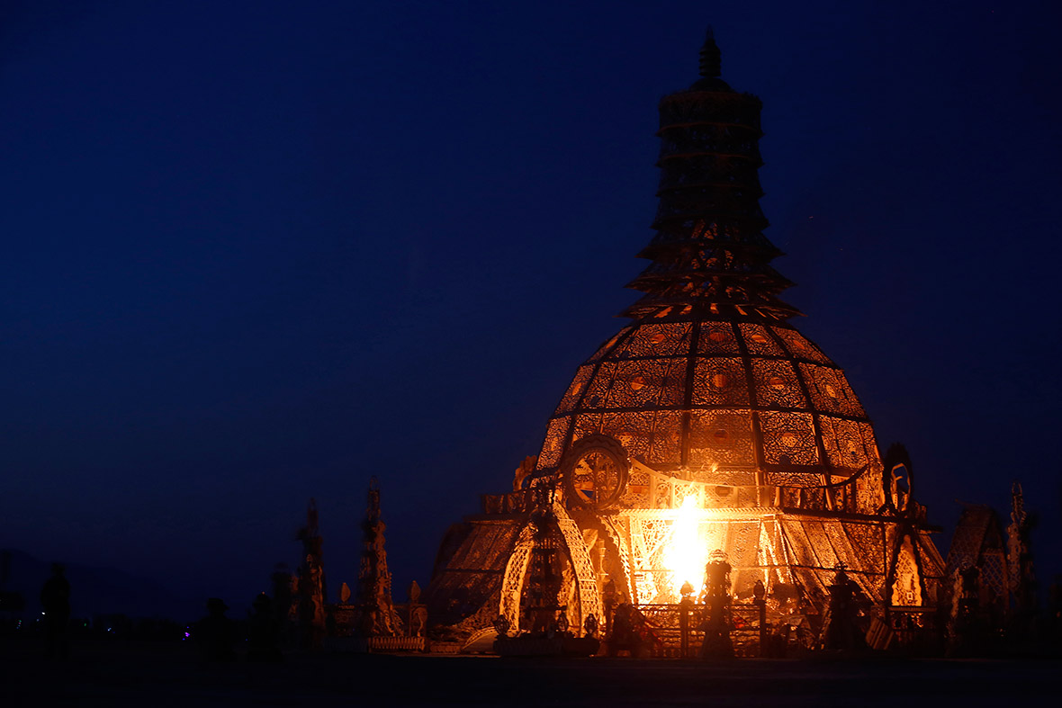 The Temple of Grace is set alight on the last day of Burning Man 2014