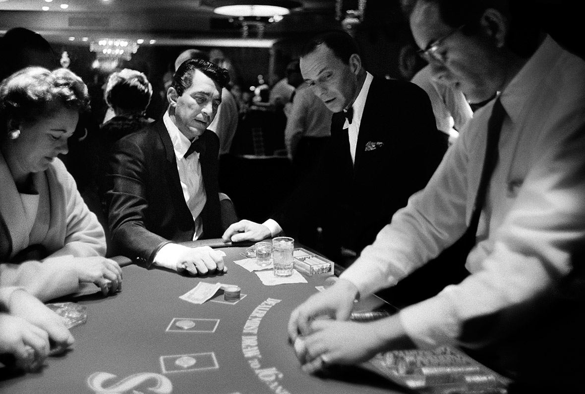 Dean Martin playing blackjack with Frank Sinatra, Sands Hotel, Las Vegas, 1960