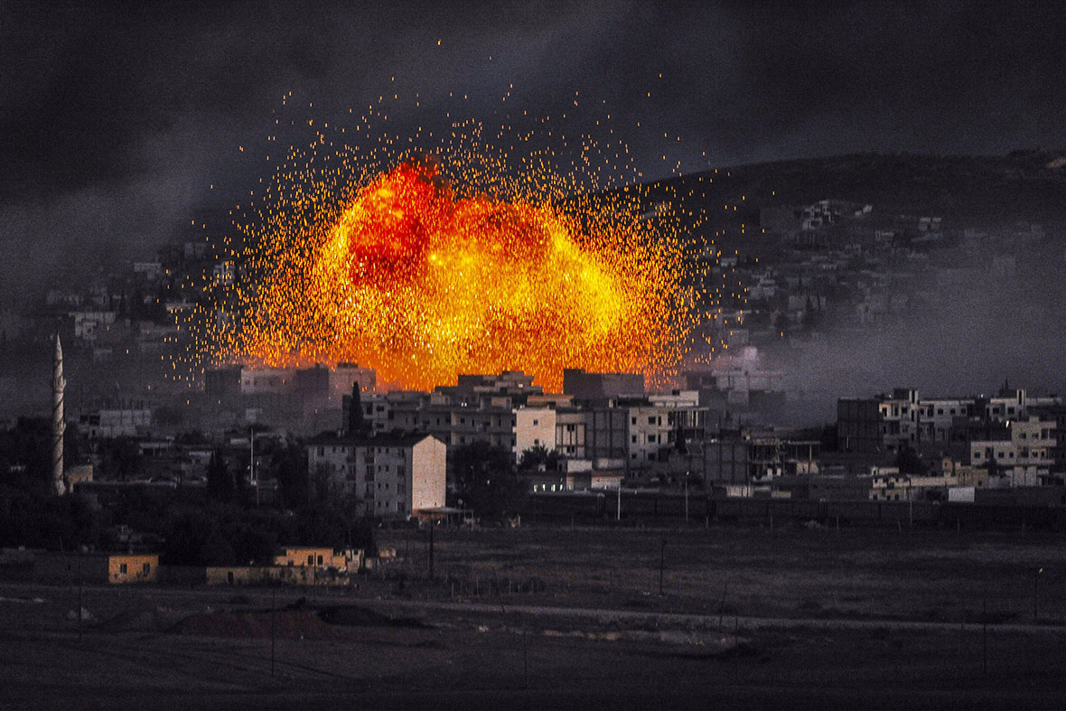 Isis Syria Photos Fire Balls Explode in Kobani as the Battle Rages On