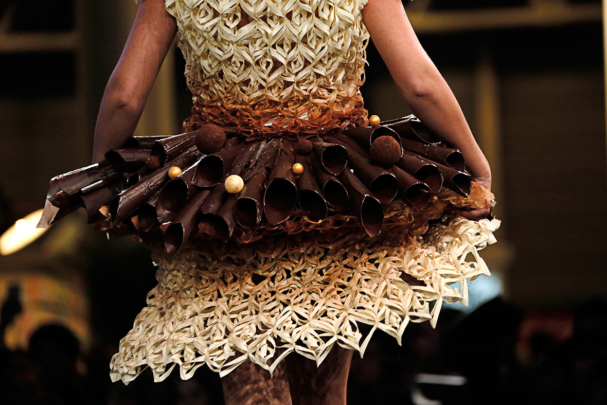 Cocoa Chanel Fashion Designers Create Chocolate Dresses for Salon du Chocolat in Paris