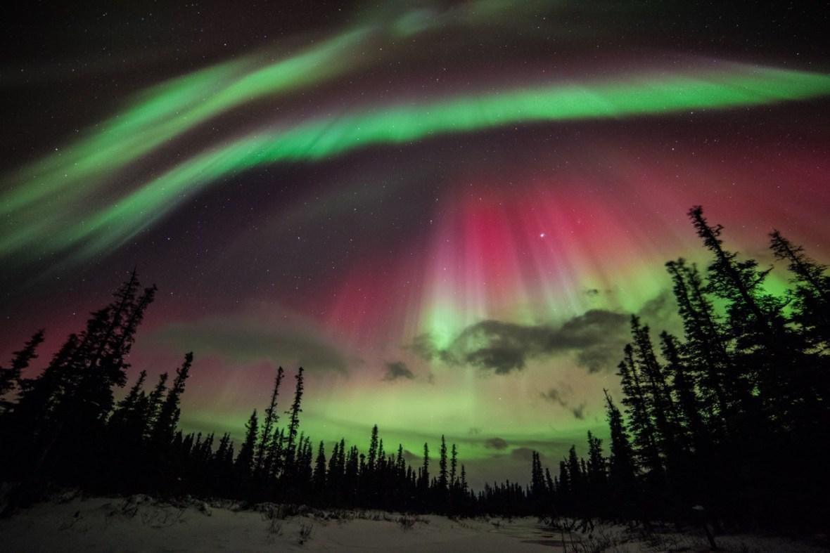 Aurora Borealis Of Northern Lights Over Alaska