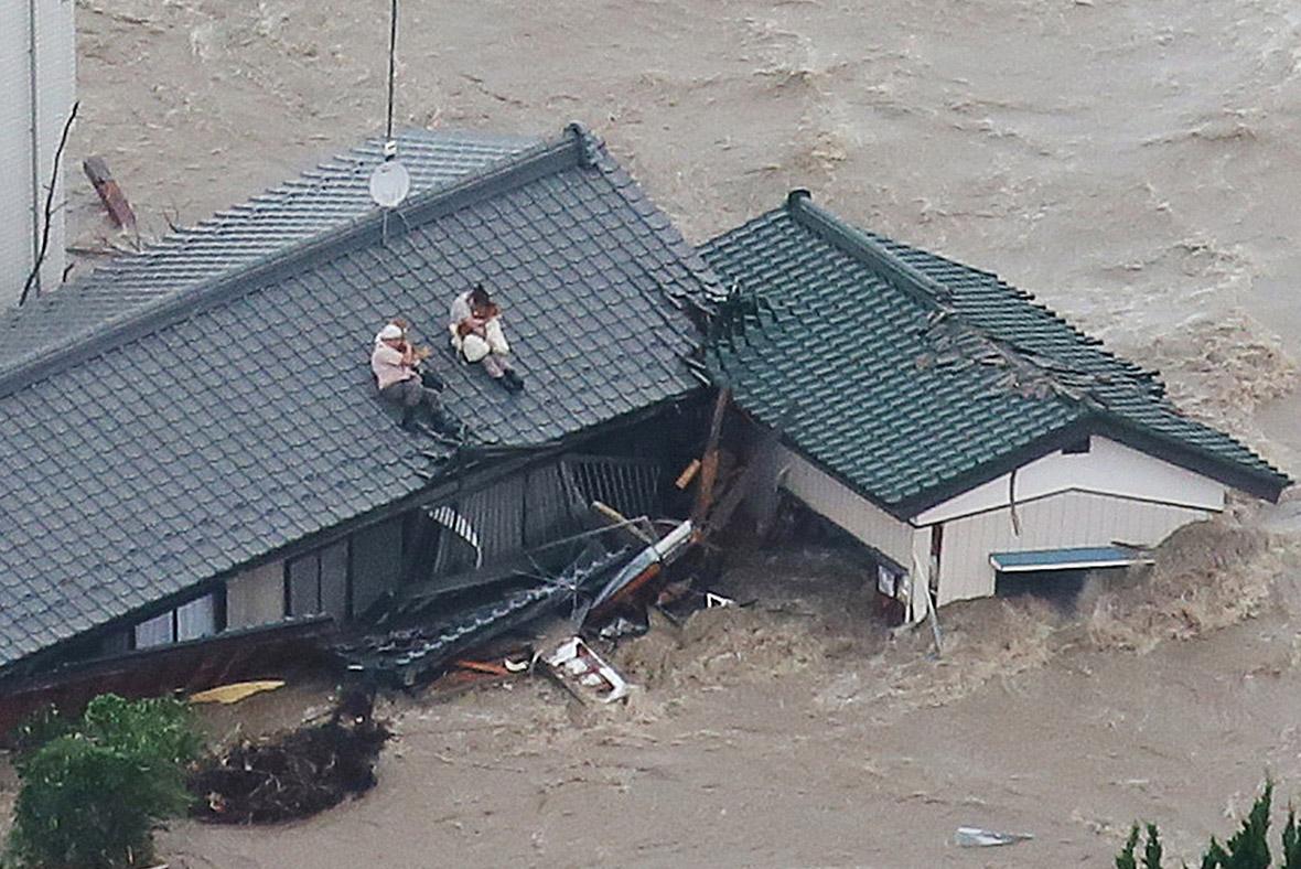 Japão tempestade inundações étau