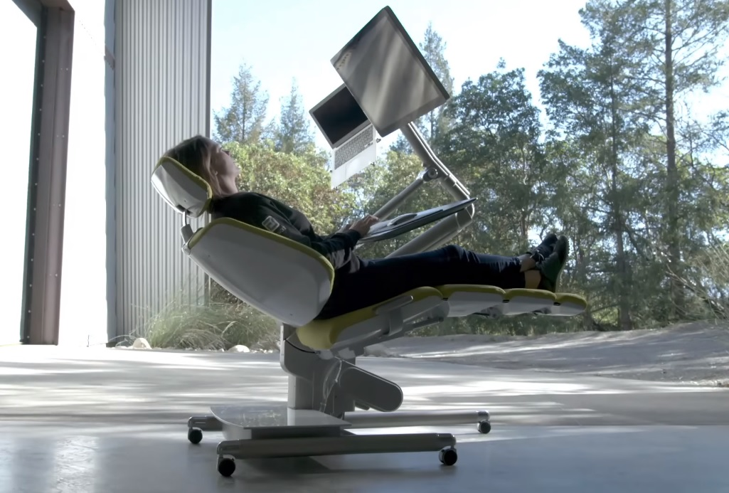 chair stand up trick retro white altwork station: the 'dentist chair' desk that lets you work lying down [video]