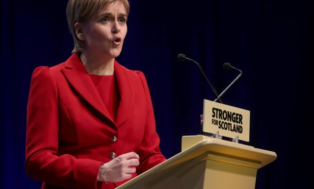 First minister and SNP leader Nicola Sturgeon addresses her candidates at the beginning of the Scottish parliament general election campaign on Wednesday