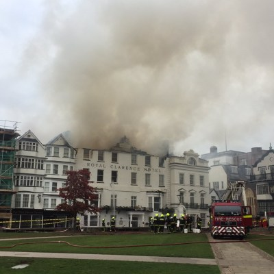 Royal Clarence Hotel In Exeter Destroyed Fire