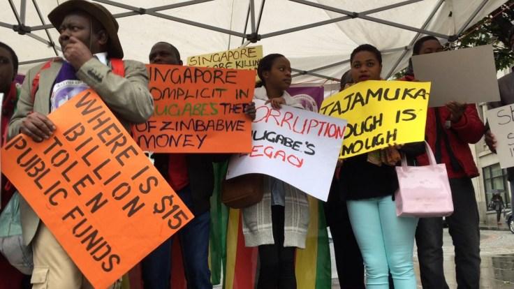 Zimbabwean diaspora protest in London