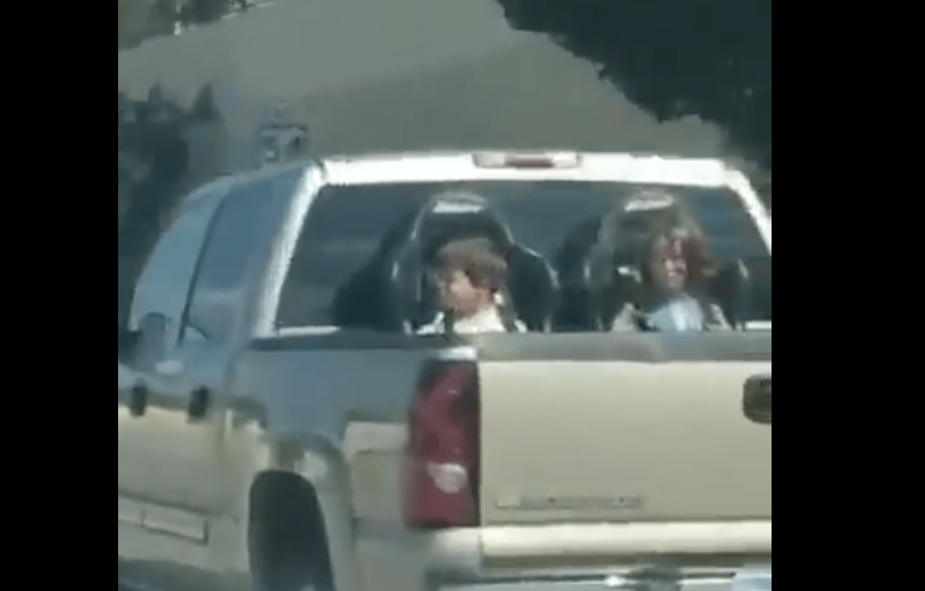 Truck Spotted Barreling Down Kansas Highway With Children Strapped Into Outdoor Seats