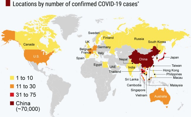 Coronavirus Update Map Shows More Than 71 000 Confirmed