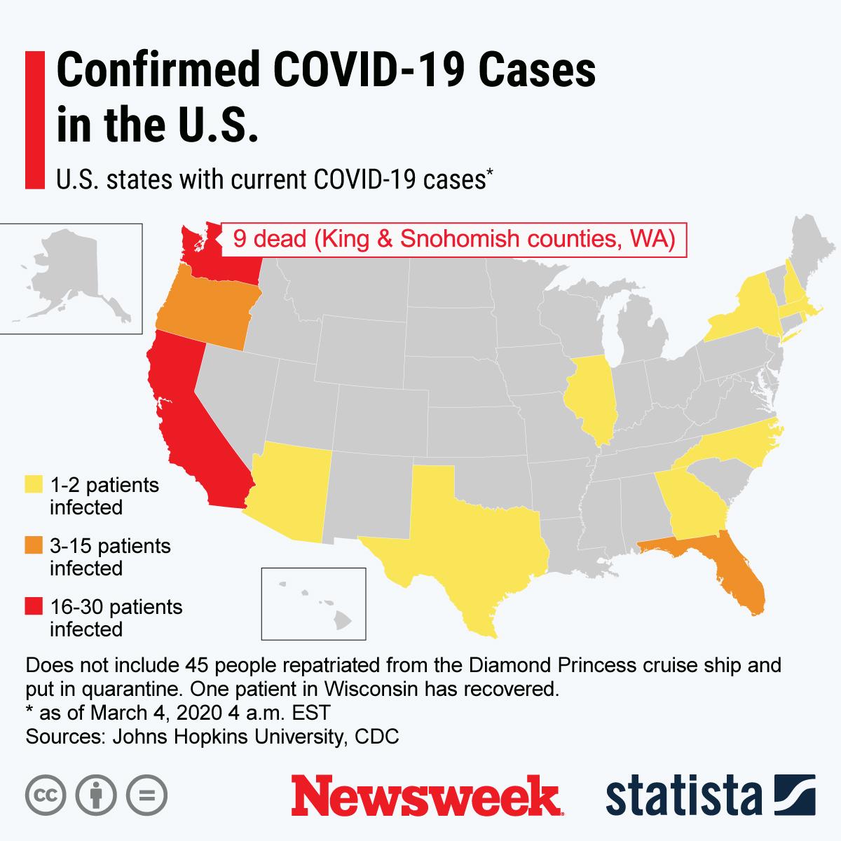 Coronavirus U.S. Outbreak Update as New Cases Confirmed in New ...