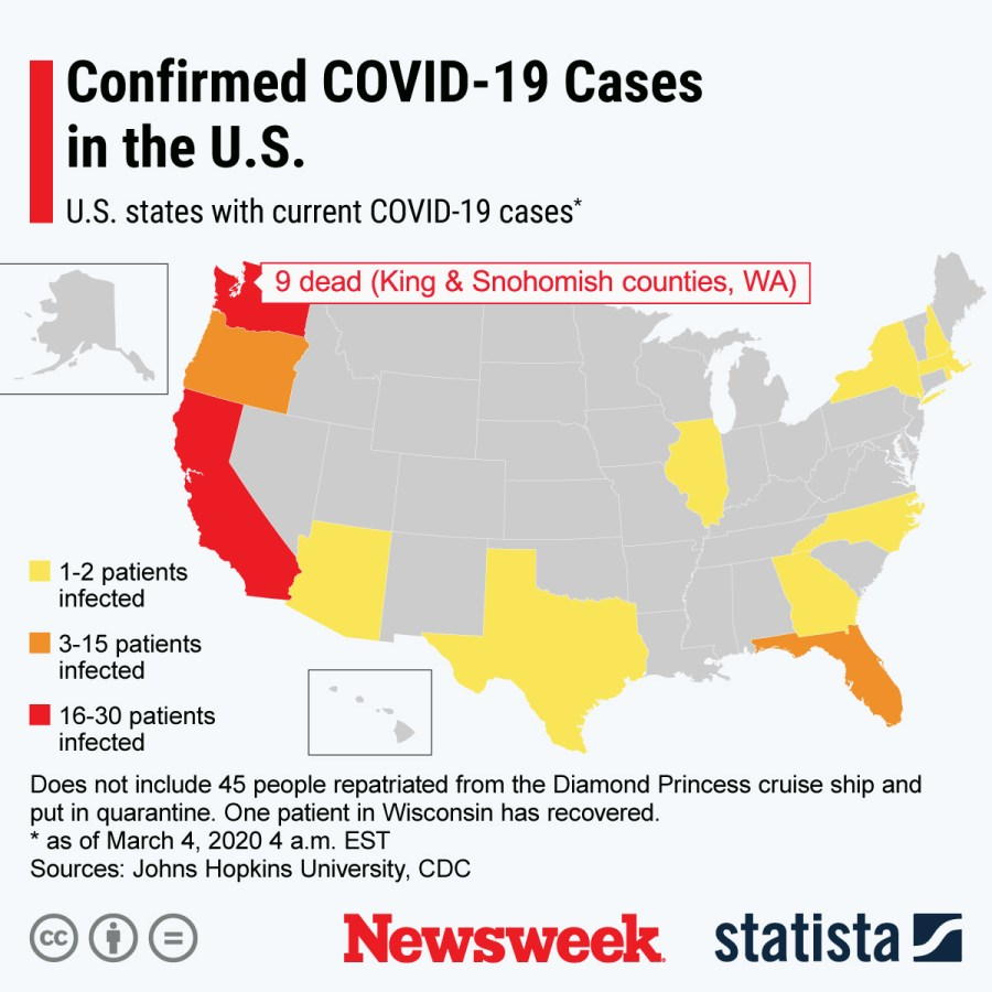Coronavirus U.S. Outbreak Update as New Cases Confirmed in New ...