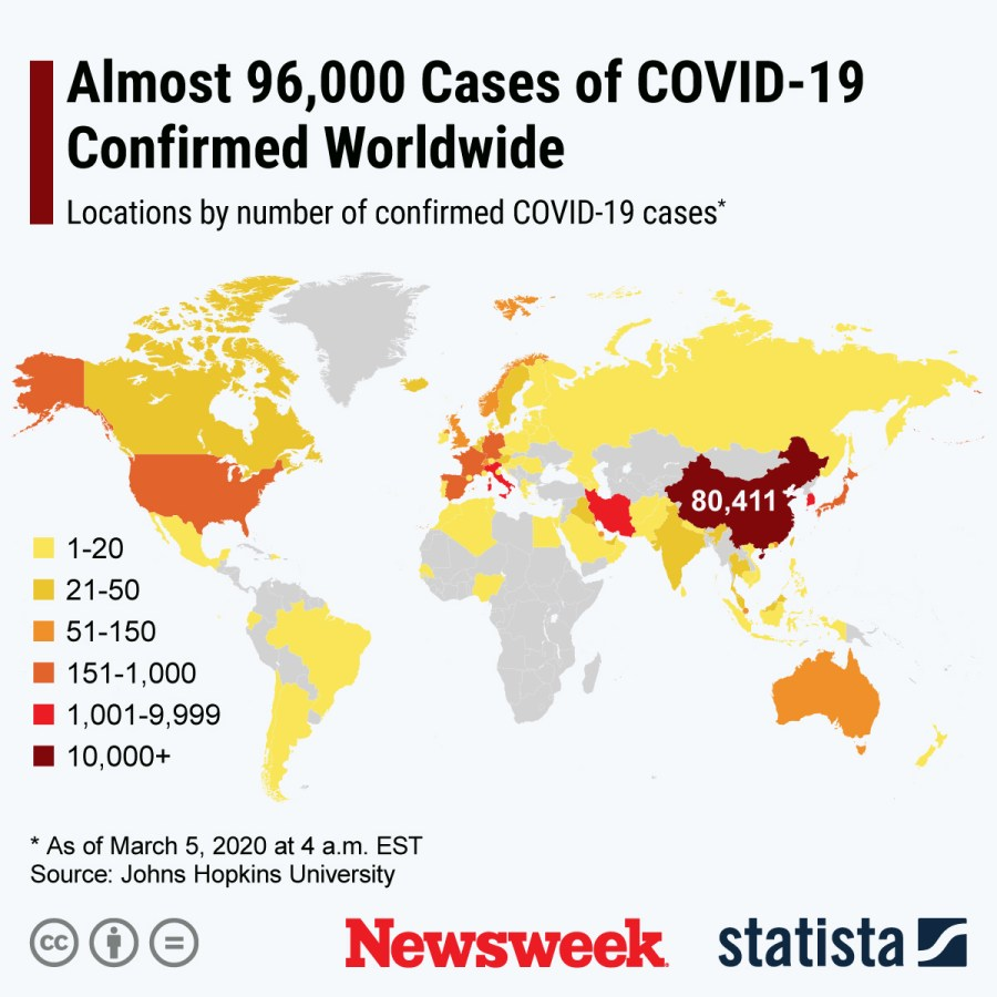 Coronavirus Update, Map as Death Toll Hits 3,300, India Sees Spike ...
