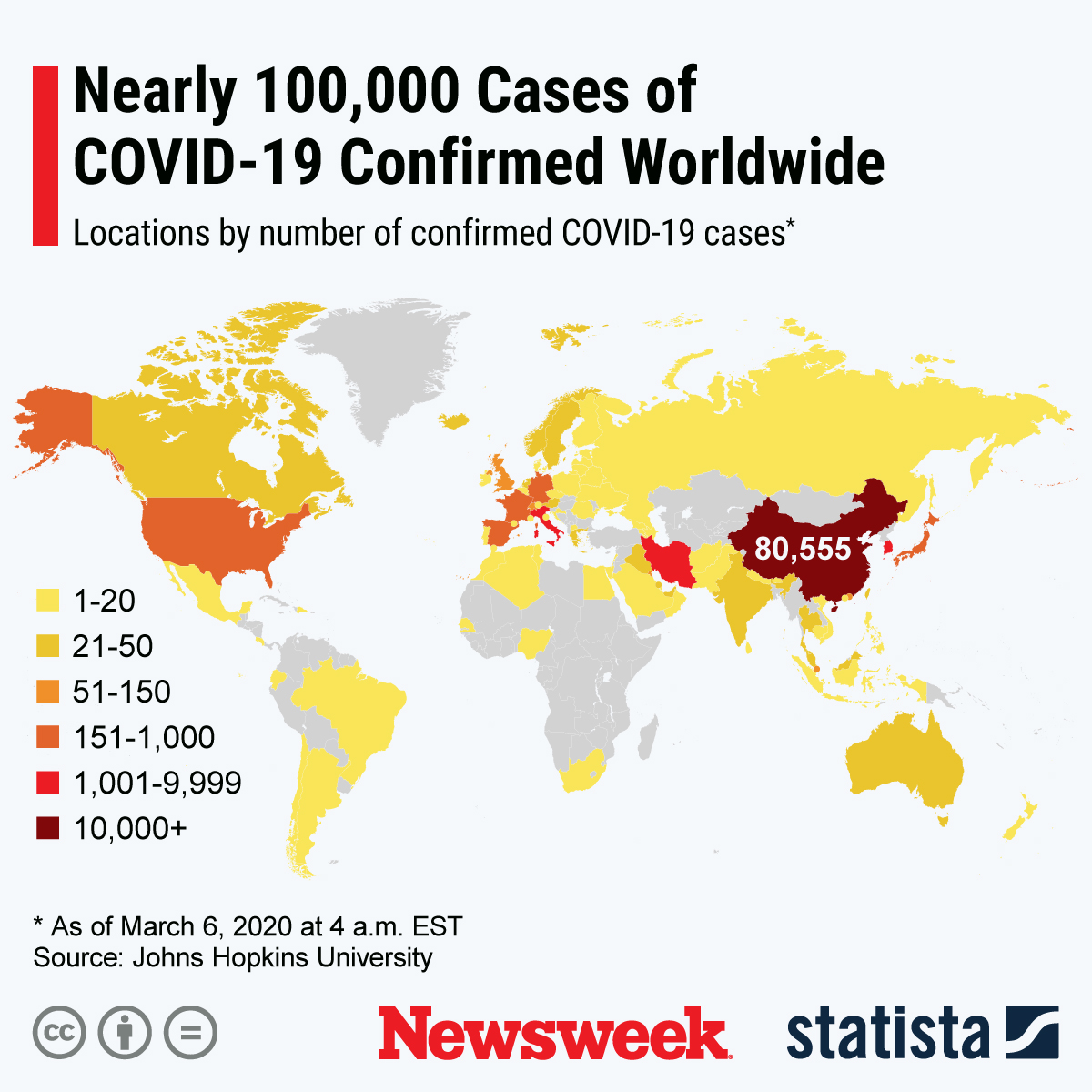 Coronavirus Update: Map Shows Nearly 100,000 Cases Confirmed ...