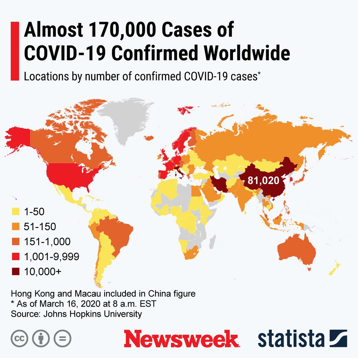 Coronavirus Update, Map Shows 169,000 Cases Worldwide, With Nearly ...