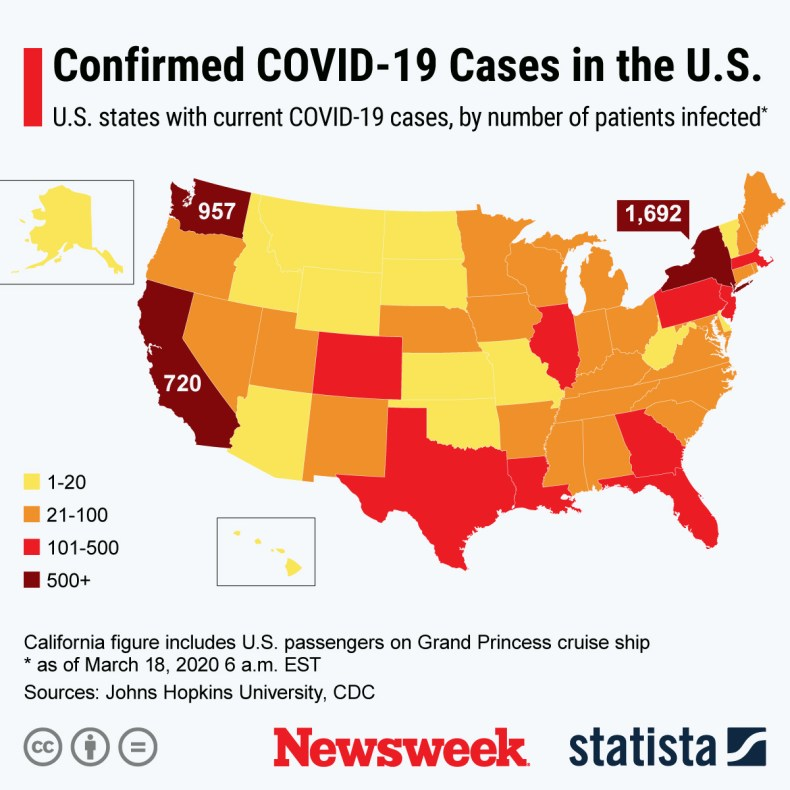 Coronavirus U.S. Map Updates, More Than 6,500 Infected Across All ...