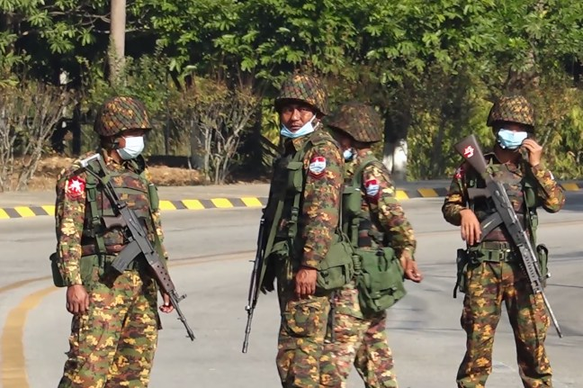 Myanmar soldiers in Naypyidaw after coup arrests