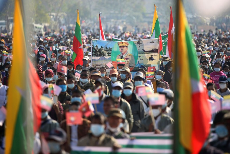 myanmar, tatmadaw, army, supporters, rally