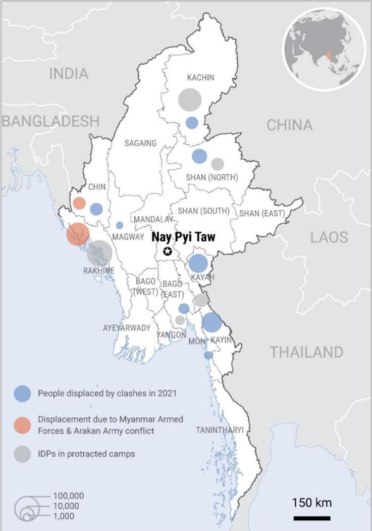 UN, humanitarian, office, map, Myanmar, conflict, displaced