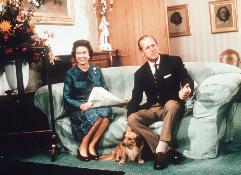 Queen Elizabeth, Prince Philip With Corgi