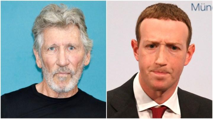 Roger Waters (G) a fait savoir à Mark Zuckerberg (D), en termes très clairs, qu'il refusait la demande du cofondateur de Facebook d'utiliser l'un des morceaux de Pink Floyd dans une campagne pour Instagram. Kurt Krieger/Corbis via Getty Images/Christof Stache/AFP via Getty Images