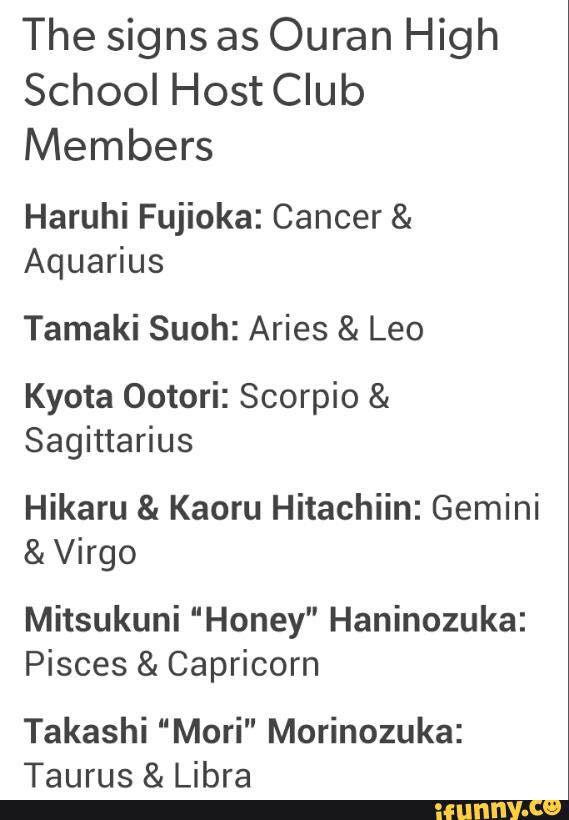 可愛い (cute)  Zodiac Signs  Ouran Highschool Host Club
